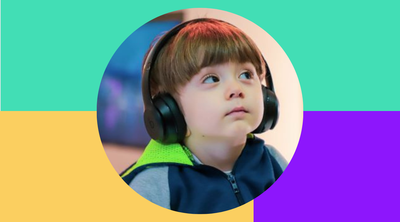 Thumbnail of cute toddler wearing headphones